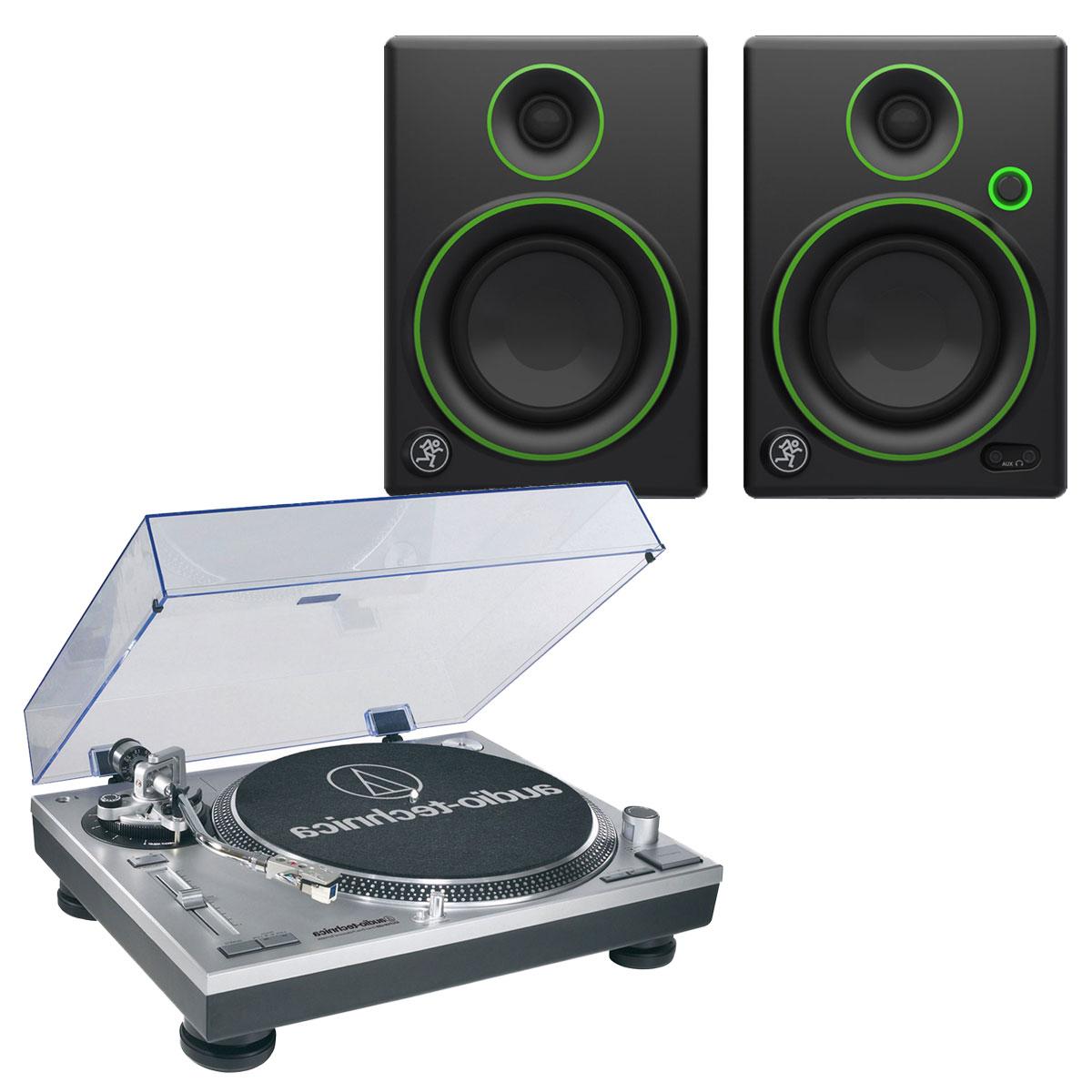 Platine vinyle Audio-Technica AT-LP120USBHC + Mackie CR4 Platine vinyle à 3 vitesses (33-45-78 trs/min) avec port USB + Enceintes de monitoring 4'' (par paire)