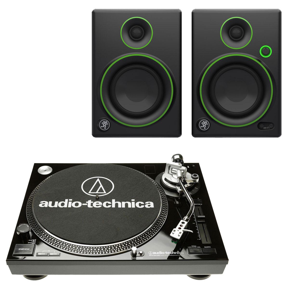 Platine vinyle Audio-Technica AT-LP120USBC Noir + Mackie CR4 Platine vinyle à 3 vitesses (33-45-78 trs/min) avec port USB + Enceintes de monitoring 4'' (par paire)