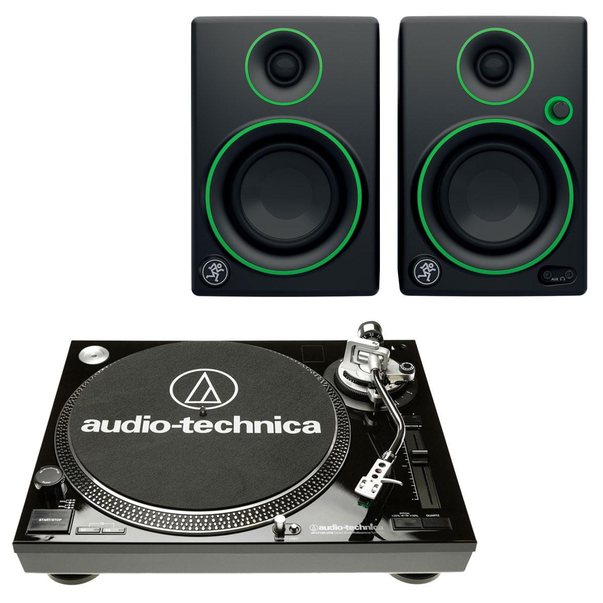 Platine vinyle Audio-Technica AT-LP120USBC Noir + Mackie CR3 Platine vinyle à 3 vitesses (33-45-78 trs/min) avec port USB + Enceintes de monitoring 3'' (par paire)