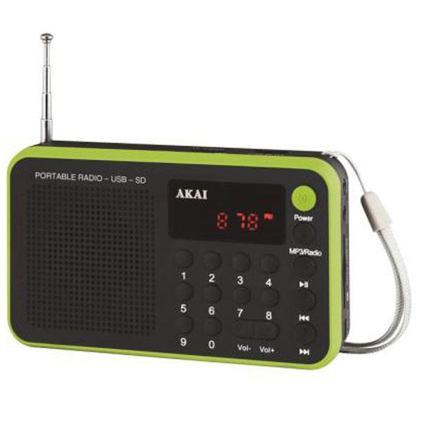 Radio & radio réveil Akai AR-68KGN Radio réveil portable FM/DTS avec sortie casque et entrée AUX