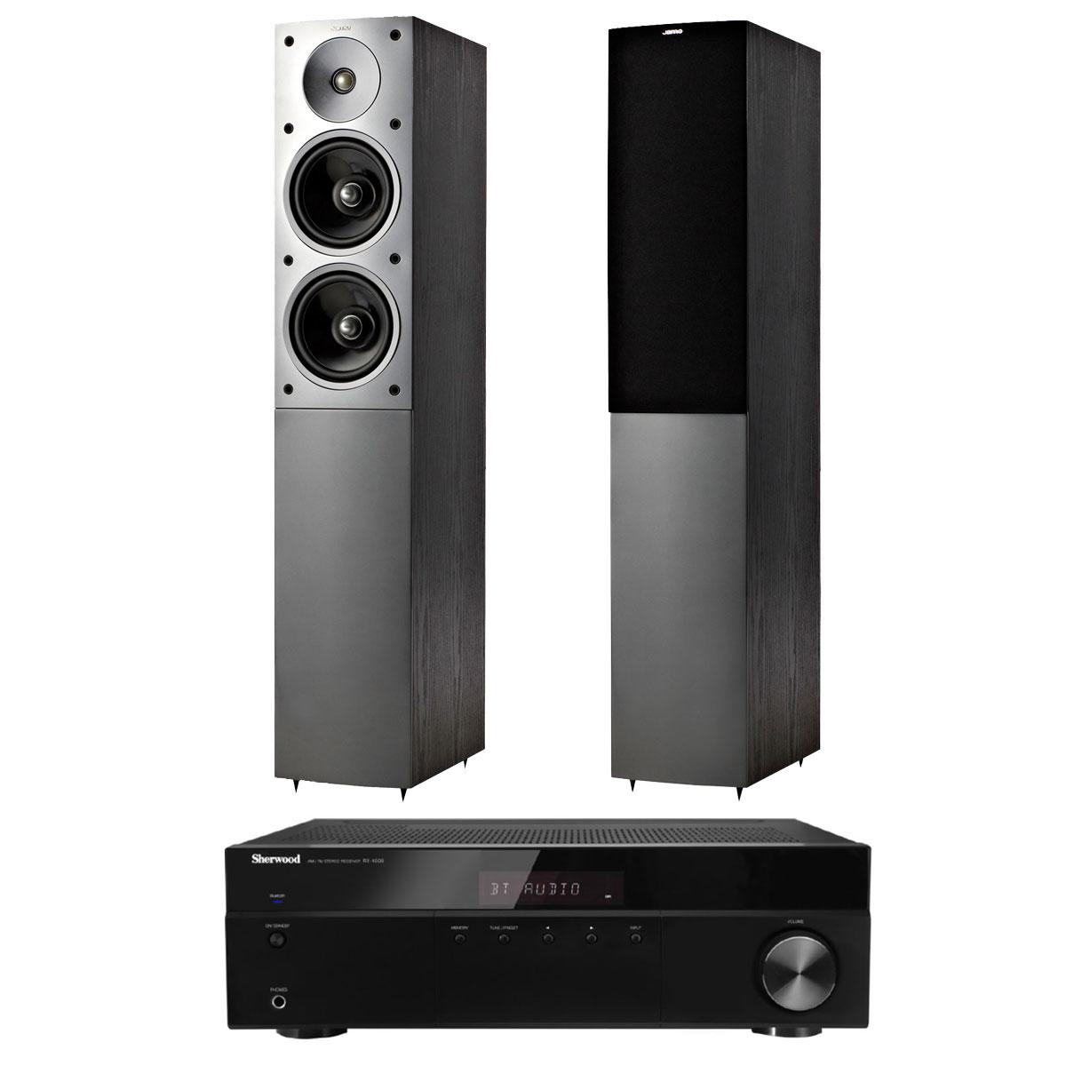 Ensemble Hifi Sherwood RX-4508 + Jamo S 506 Noir Amplificateur-Tuner stéréo Bluetooth 2 x 100 W + Enceinte colonne (par paire)