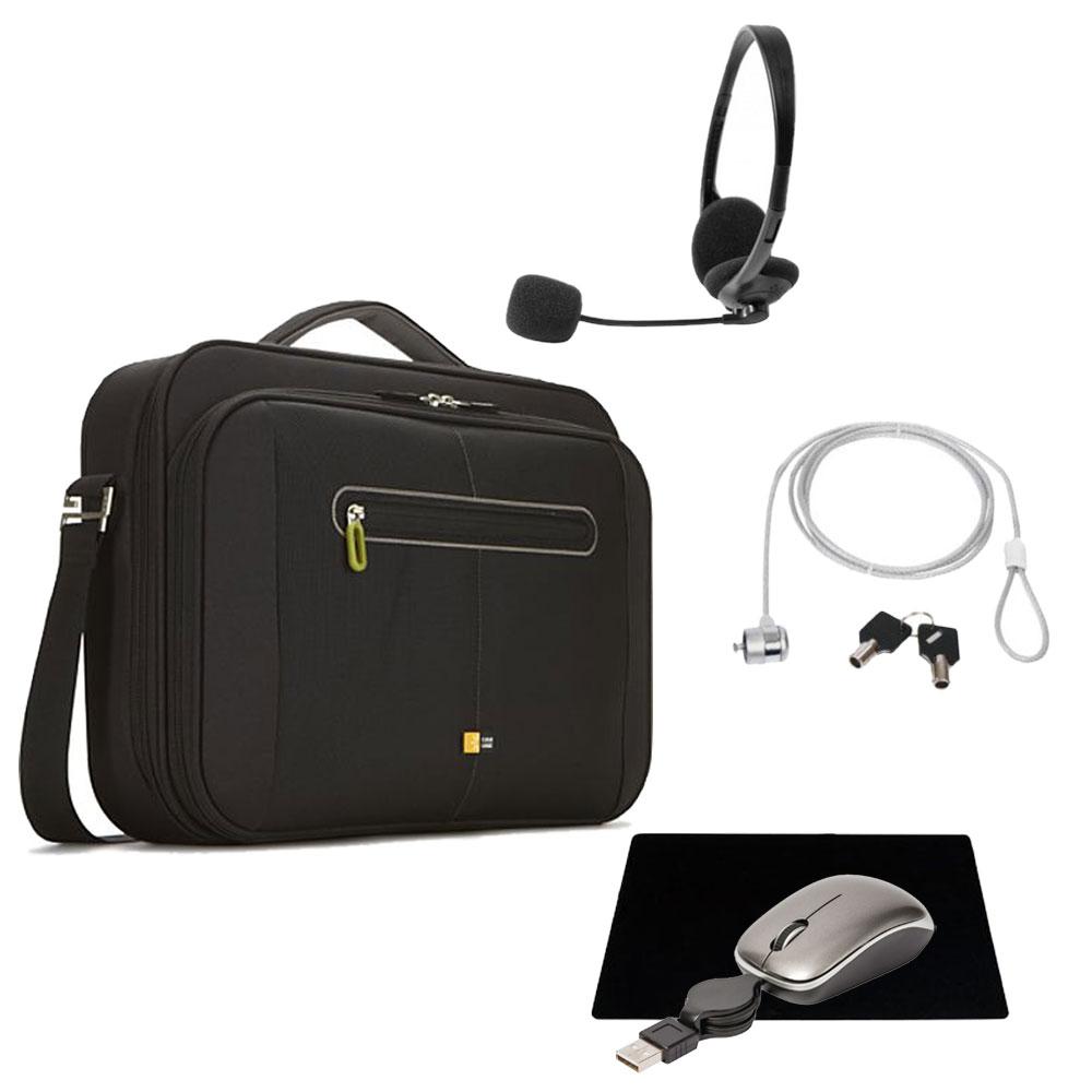 Sac, sacoche, housse Case Logic PNC-216 + pack d'accessoires OFFERT !!! Sacoche pour ordinateur portable (jusqu'à 16'') + casque-micro stéréo, souris de voyage à câble USB rétractable, tapis de souris et antivol à clé OFFERTS !!!