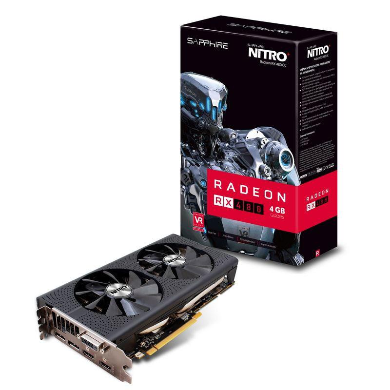 Carte graphique Sapphire NITRO+ Radeon RX 480 4G 4 Go DVI/Dual HDMI/Dual DisplayPort - PCI Express (AMD Radeon RX 480)