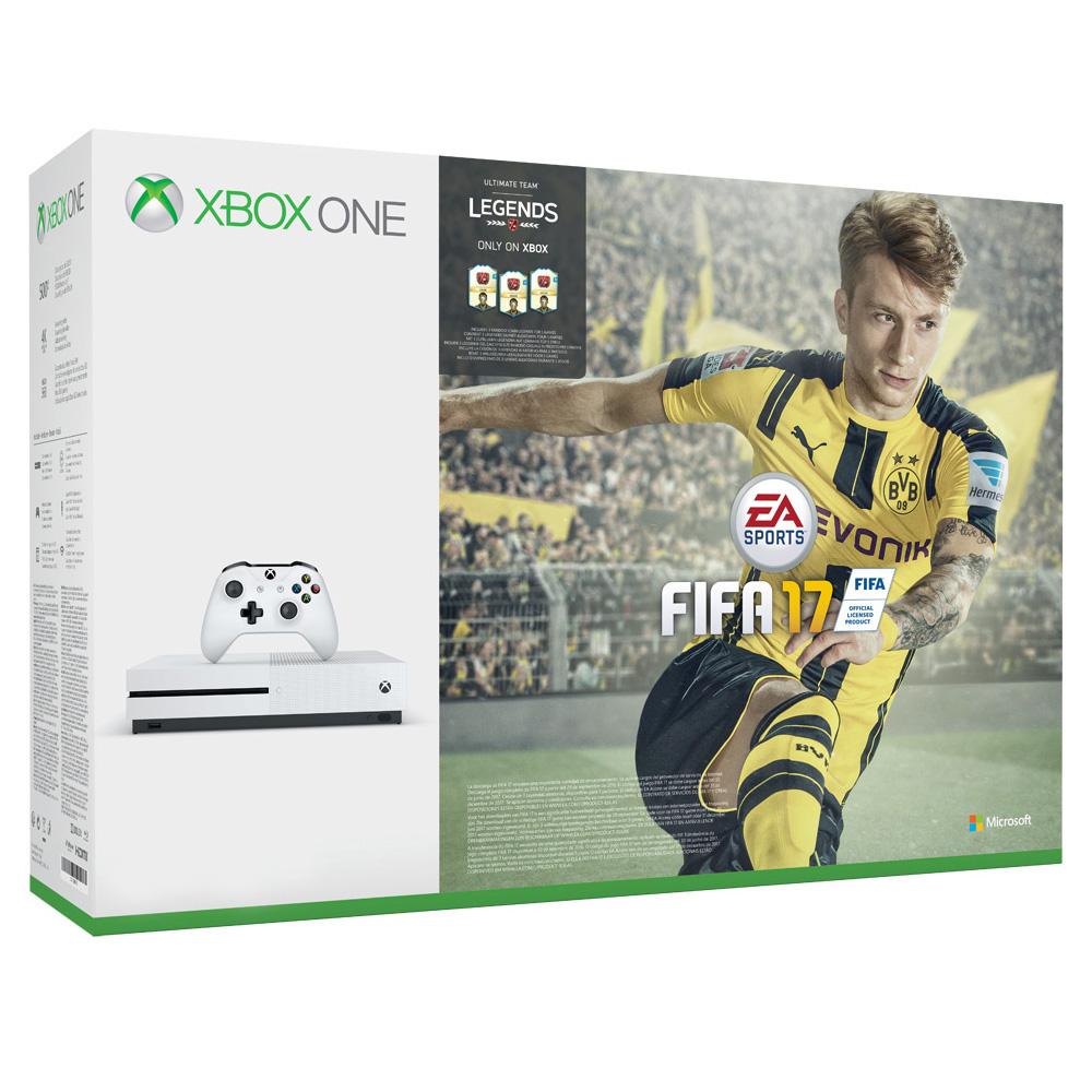 Console Xbox One Microsoft Xbox One S (500 Go) + FIFA 17 Console de jeux-vidéo 4K nouvelle génération avec disque dur 500 Go + FIFA 17