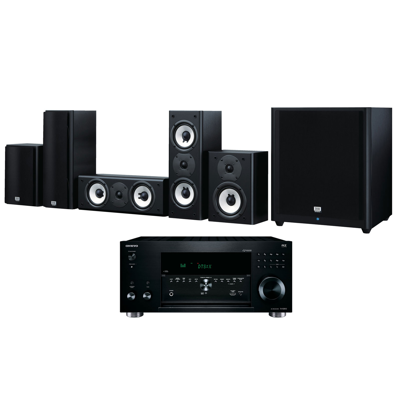 Ensemble home cinéma Onkyo TX-RZ810 Noir + SKS-HT978THX Ampli-tuner Home Cinéma 7.2 - THX - Bluetooth - AirPlay - Wi-Fi - Dolby Atmos - DTS:X - 4K - HDCP 2.2 - HDR - Hi-Res Audio - 8 entrées HDMI + Pack d'enceintes 5.1 certification THX