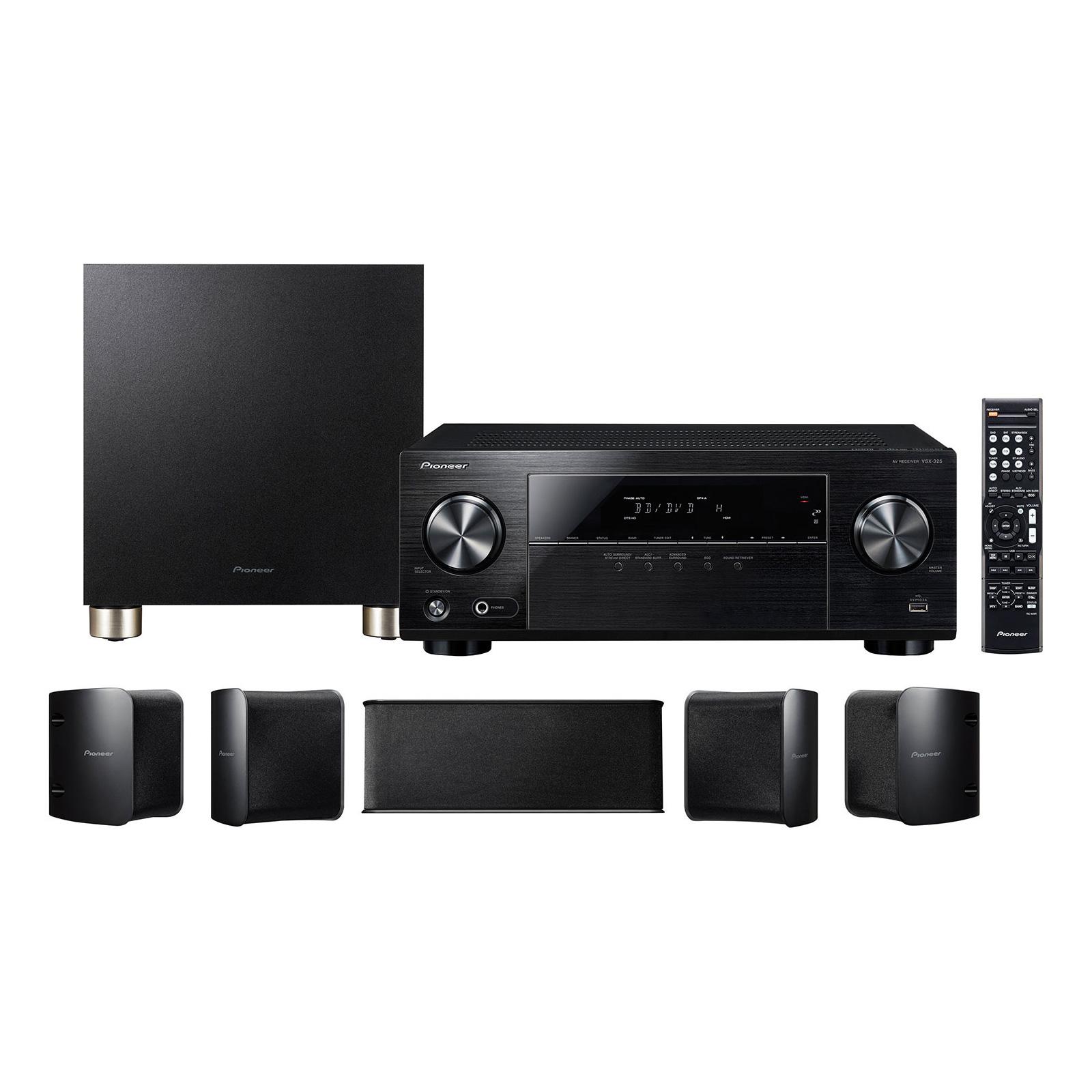 Ensemble home cinéma Pioneer HTP-074 Ensemble Home Cinema 5.1 600W 4K Ultra HD 3D HDMI/Bluietooth + Kit enceintes 5.1 avec caisson de basses