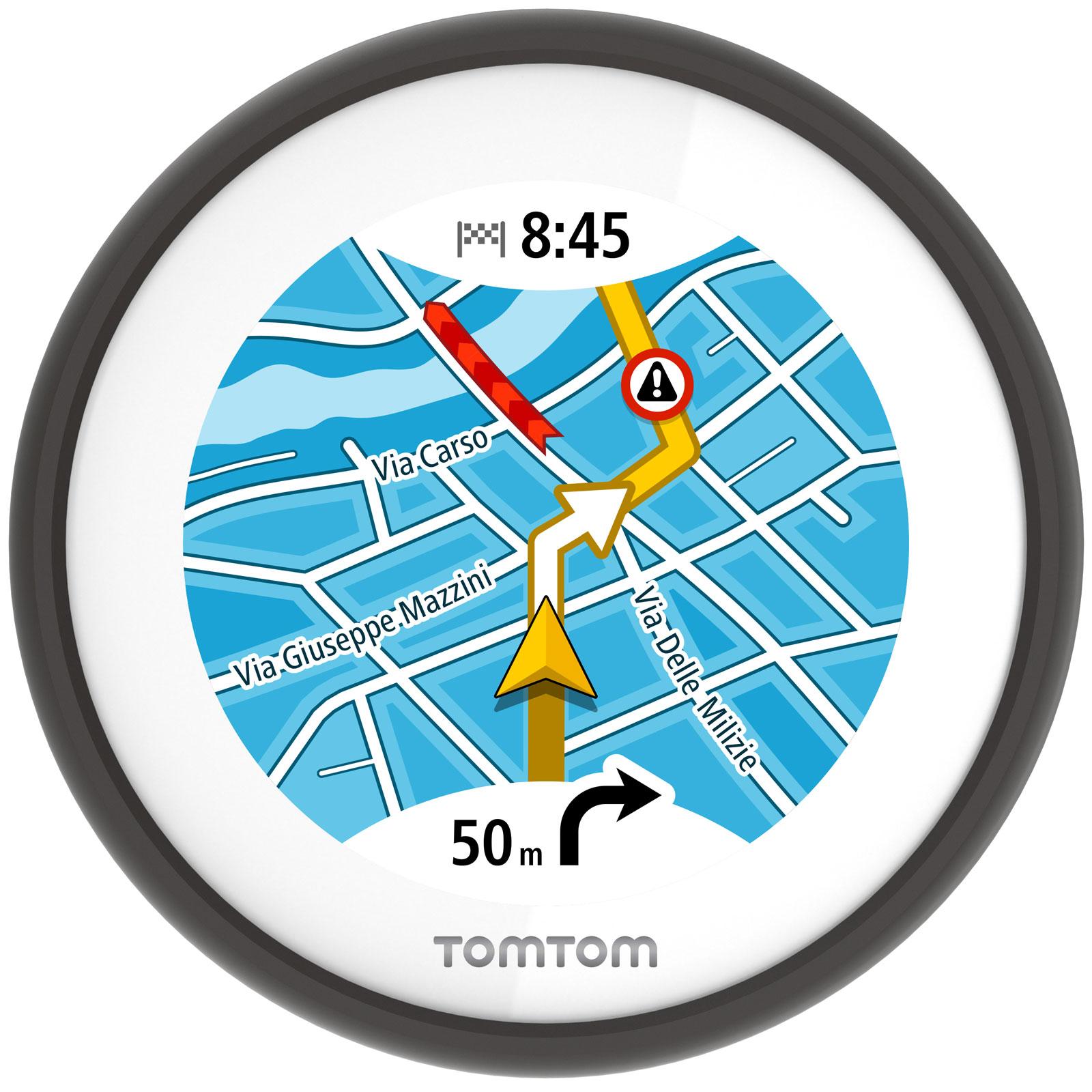 """GPS TomTom VIO GPS pour scooter - Ecran tactile circulaire 2.4"""" - Etanche (IPX7) - Europe - TomTom Trafic et radars à vie"""