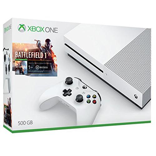 Console Xbox One Microsoft Xbox One S (500 Go) + Battlefield 1 Console de jeux-vidéo 4K nouvelle génération avec disque dur 500 Go + Battlefield 1