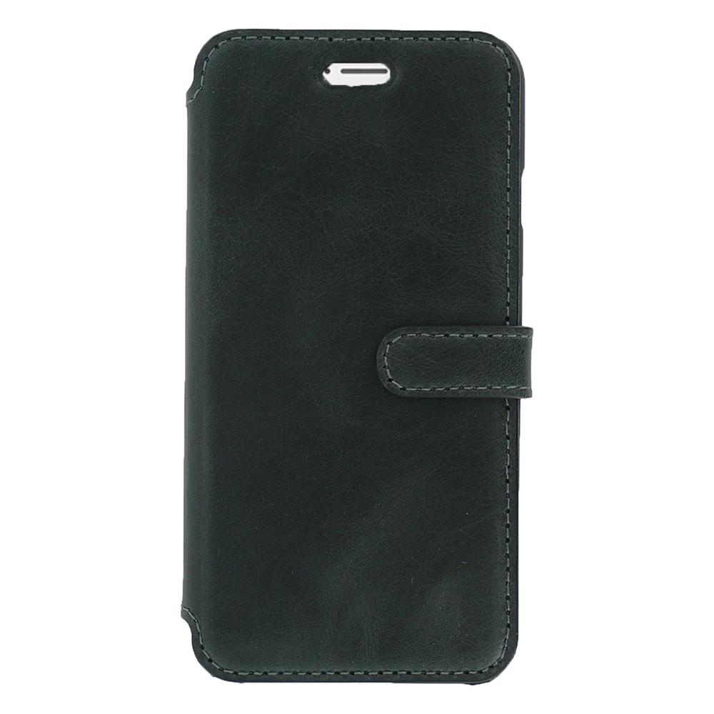 Etui téléphone Akashi Etui Folio Cuir Italien Noir iPhone 7 Etui folio en cuir véritable pour iPhone 7