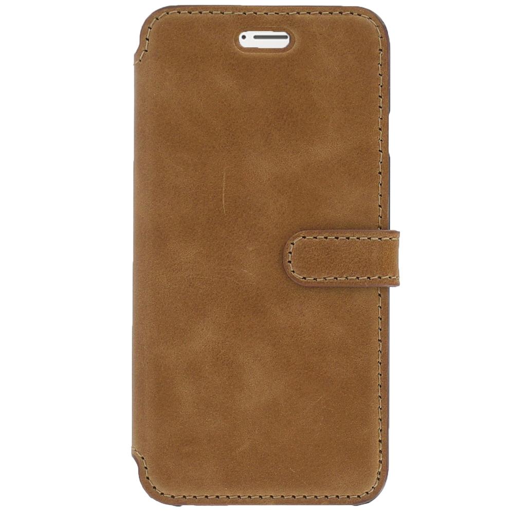 Etui téléphone Akashi Etui Folio Cuir Italien Marron iPhone 7 Etui folio en cuir véritable pour iPhone 7