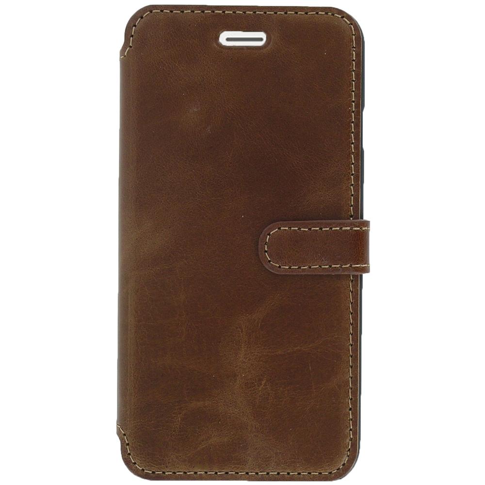 Etui téléphone Akashi Etui Folio Cuir Italien Marron Foncé iPhone 7 Etui folio en cuir véritable pour iPhone 7