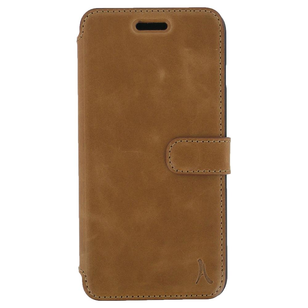 Etui téléphone Akashi Etui Folio Cuir Italien Marron iPhone 7 Plus Etui folio en cuir véritable pour iPhone 7 Plus
