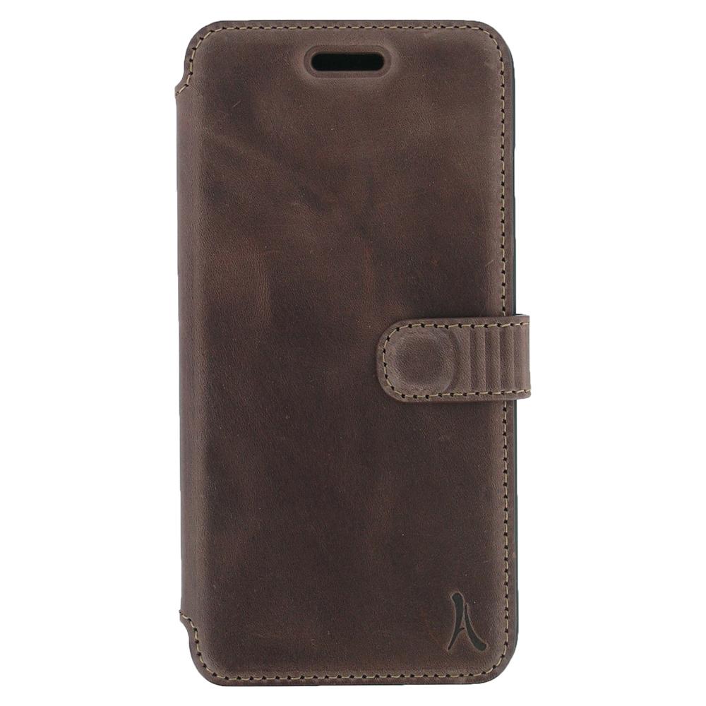 Etui téléphone Akashi Etui Folio Cuir Italien Marron Foncé iPhone 7 Plus Etui folio en cuir véritable pour iPhone 7 Plus