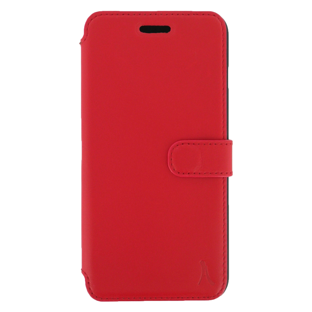 Etui téléphone Akashi Etui Folio Cuir Italien Rouge iPhone 7 Plus Etui folio en cuir véritable pour iPhone 7 Plus
