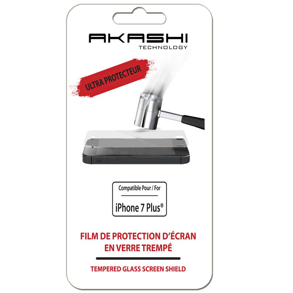 Film protecteur téléphone Akashi Verre Trempé Incassable Premium iPhone 7 Plus Film de protection d'écran ultra protecteur en verre trempé pour iPhone 7 Plus