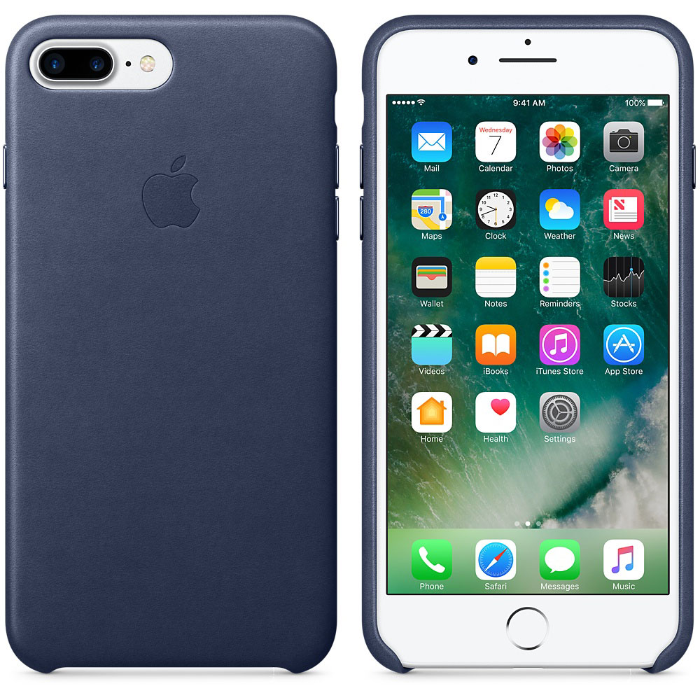 apple coque en cuir bleu nuit apple iphone 7 plus mmyg2zm. Black Bedroom Furniture Sets. Home Design Ideas