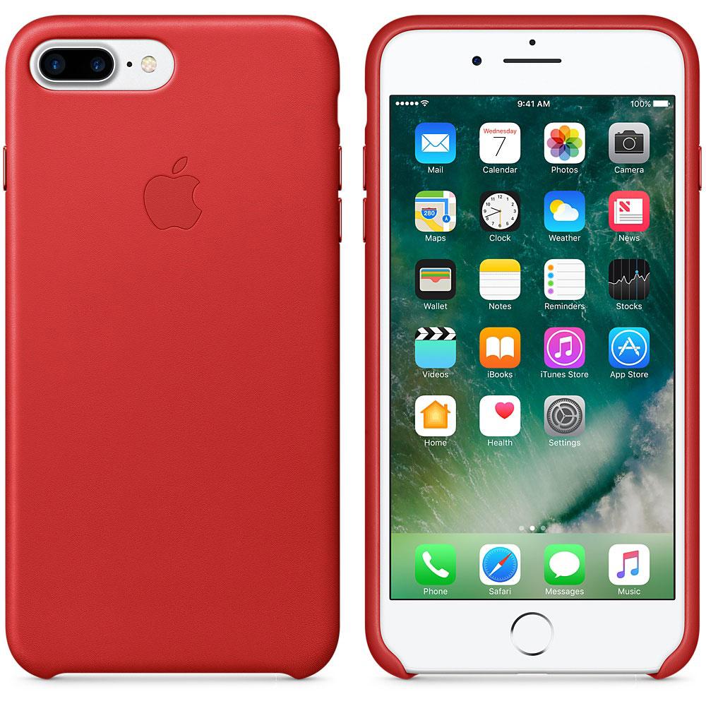 Etui téléphone Apple Coque en cuir Rouge Apple iPhone 7 Plus  Coque en cuir pour Apple iPhone 7 Plus