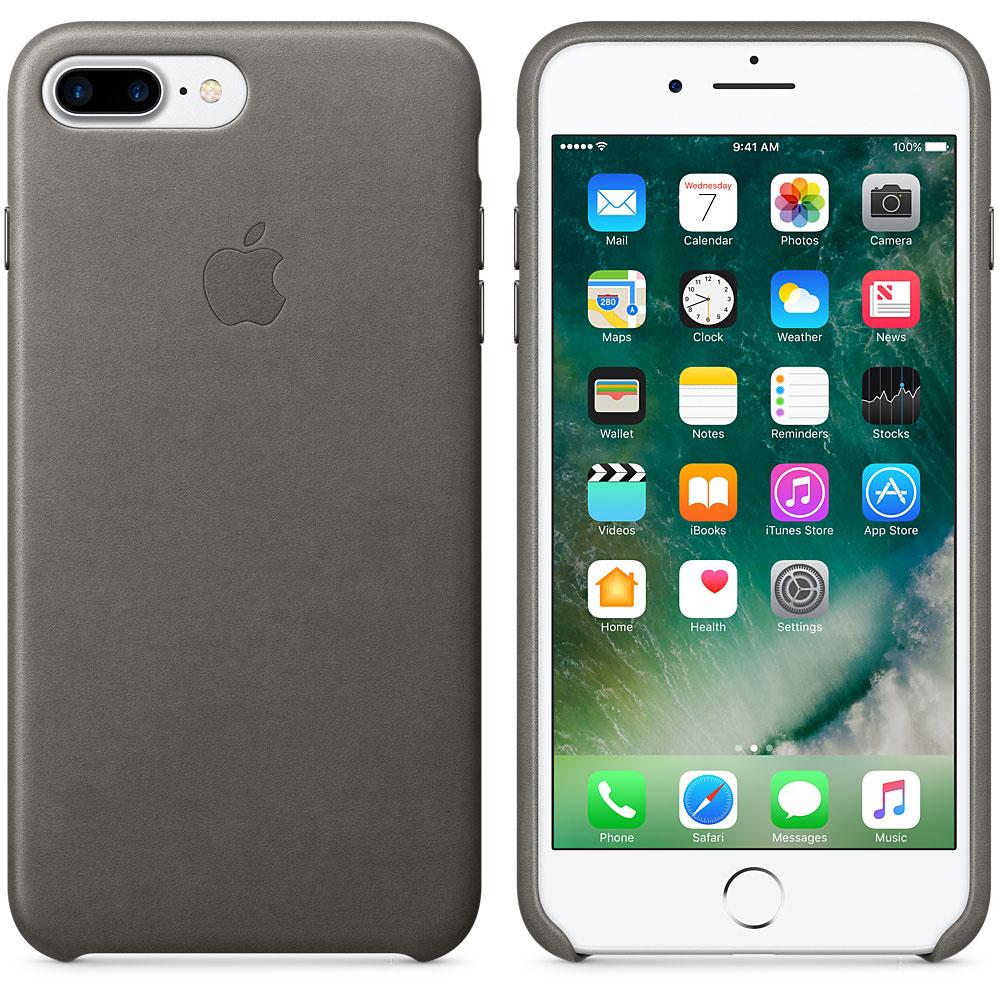 Etui téléphone Apple Coque en cuir Gris Apple iPhone 7 Plus  Coque en cuir pour Apple iPhone 7 Plus