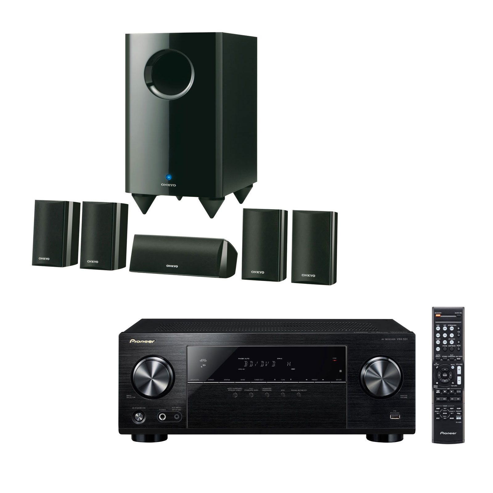 Ensemble home cinéma Pioneer VSX-531B + Onkyo SKS-HT528 Ampli-tuner Home Cinéma 5.1 Bluetooth, HDCP 2.2, et Upscaling Ultra HD 4K avec 4 entrées HDMI + Pack d'enceintes 5.1