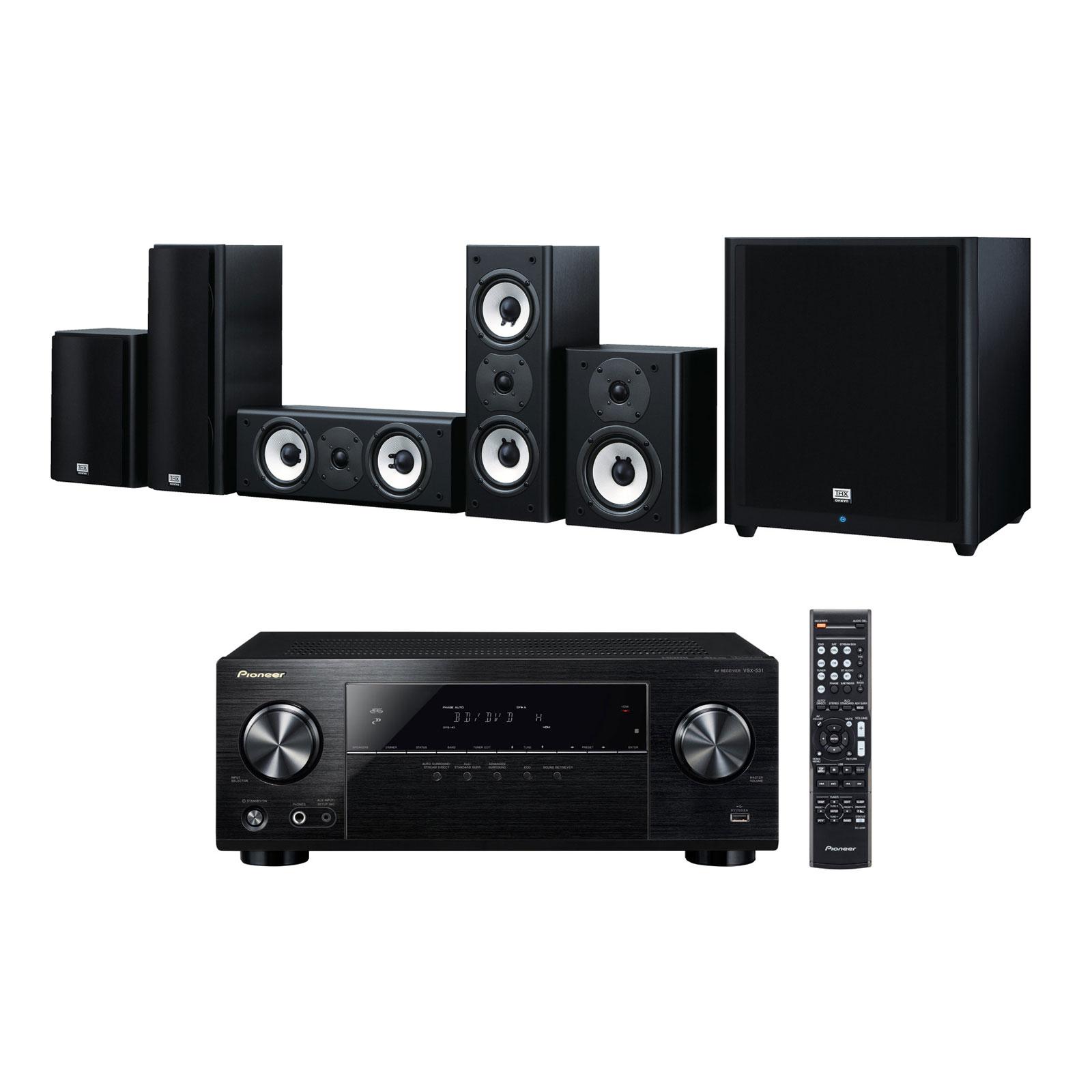 Ensemble home cinéma Pioneer VSX-531B + Onkyo SKS-HT978THX Ampli-tuner Home Cinéma 5.1 Bluetooth, HDCP 2.2, et Upscaling Ultra HD 4K avec 4 entrées HDMI + Pack d'enceintes 5.1 certification THX