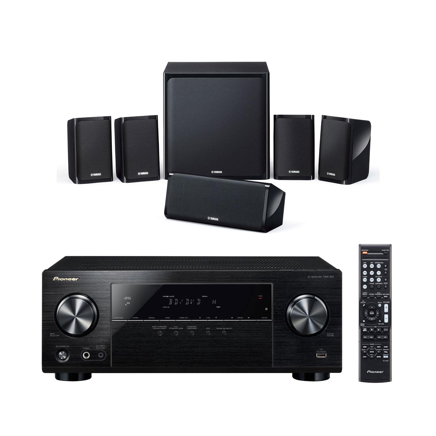 Ensemble home cinéma Pioneer VSX-531B + Yamaha NS-P40 Ampli-tuner Home Cinéma 5.1 Bluetooth, HDCP 2.2, et Upscaling Ultra HD 4K avec 4 entrées HDMI + Pack d'enceintes 5.1