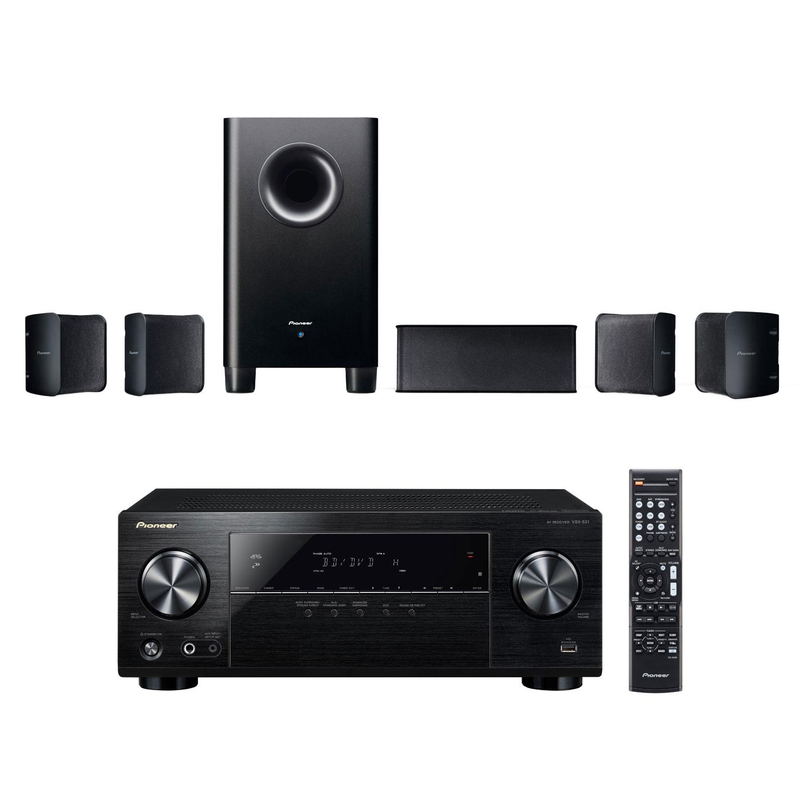 Ensemble home cinéma Pioneer VSX-531B + S-HS100 Ampli-tuner Home Cinéma 5.1 Bluetooth, HDCP 2.2, et Upscaling Ultra HD 4K avec 4 entrées HDMI + Pack d'enceintes compactes 5.1