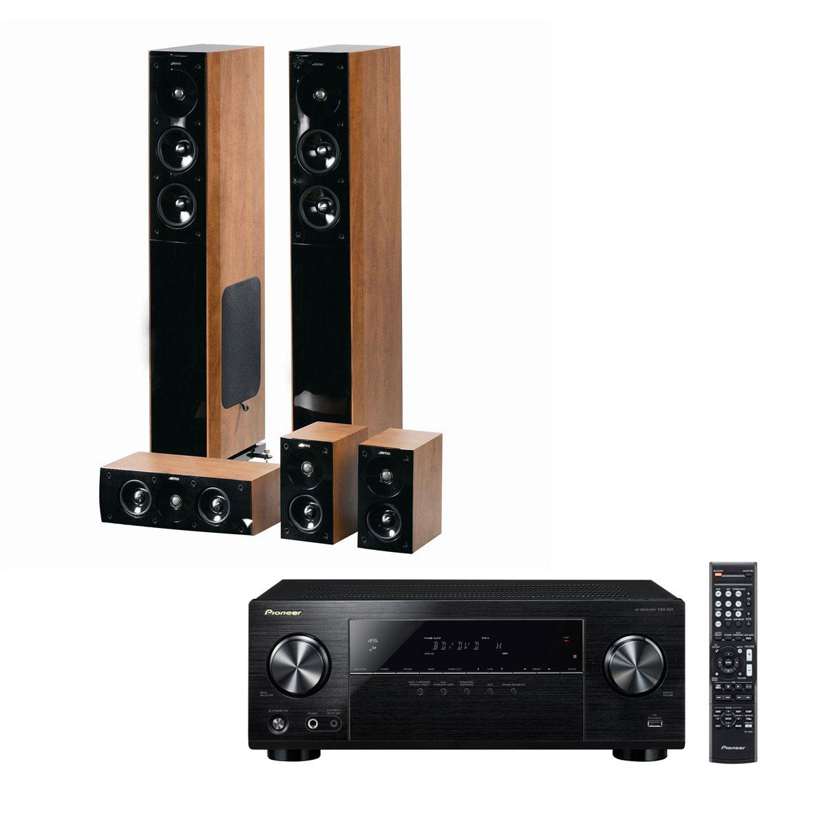 Ensemble home cinéma Pioneer VSX-531B + Jamo S 606 HCS 3 Dark Apple Ampli-tuner Home Cinéma 5.1 Bluetooth, HDCP 2.2, et Upscaling Ultra HD 4K avec 4 entrées HDMI + Pack d'enceintes 5.0