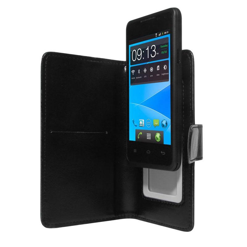 "Etui téléphone Akashi Etui Universel Noir 4/4.5"" Etui folio en simili cuir pour smartphone 4/4.5"""