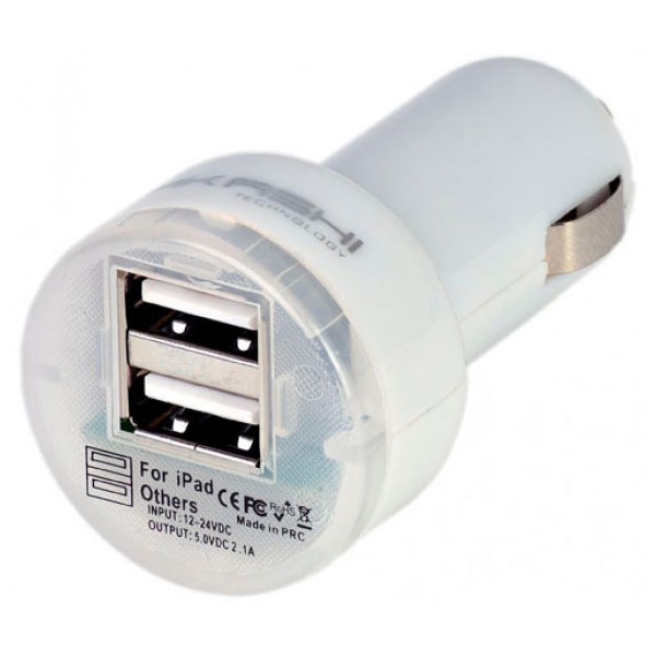 Chargeur téléphone Akashi Chargeur allume-cigare USB 2.1A Blanc Chargeur allume-cigare universel 2.1A avec 2 ports USB