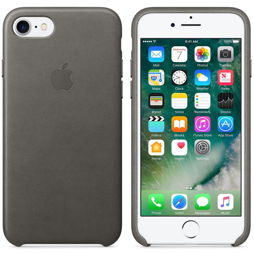 Etui téléphone Apple Coque en cuir Gris orage Apple iPhone 7  Coque en cuir pour Apple iPhone 7