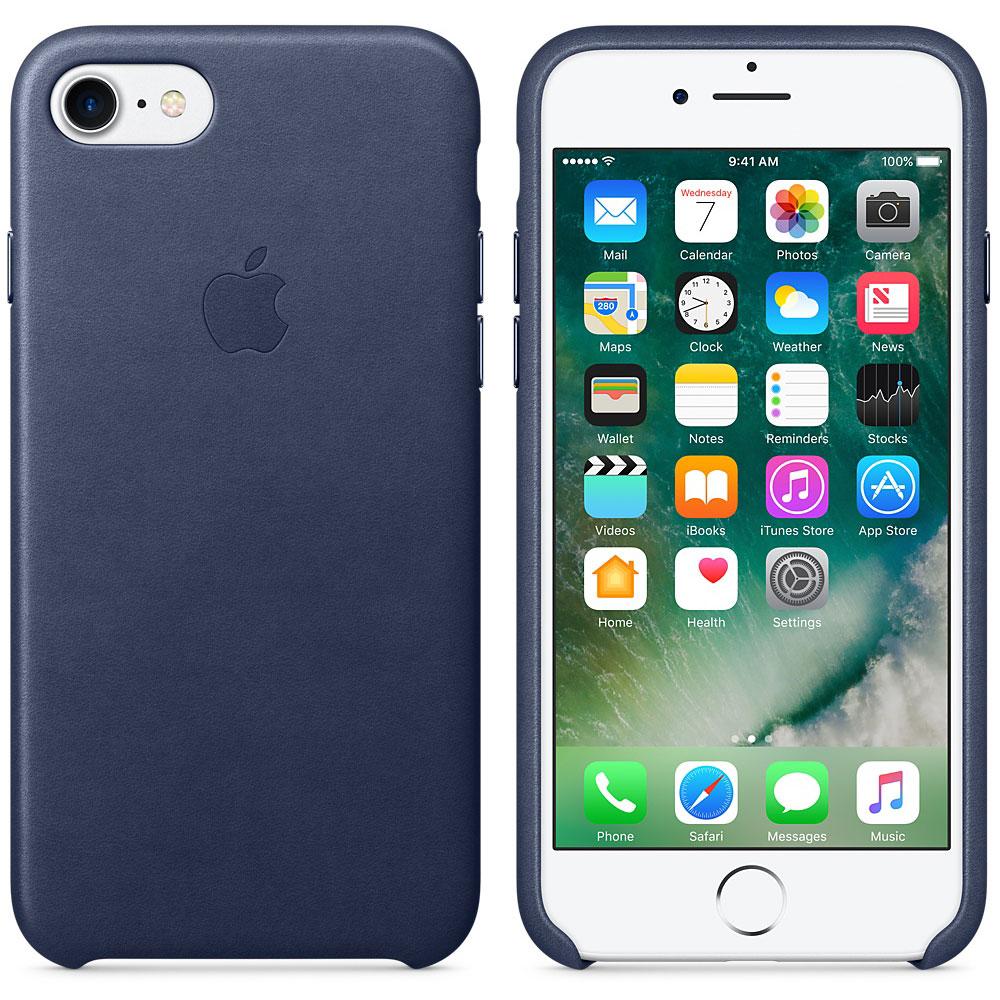 Etui téléphone Apple Coque en cuir Bleu nuit Apple iPhone 7  Coque en cuir pour Apple iPhone 7