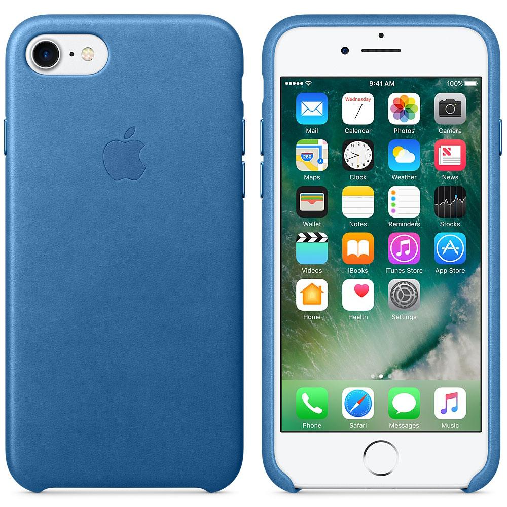 Etui téléphone Apple Coque en cuir Bleu Méditerranée Apple iPhone 7  Coque en cuir pour Apple iPhone 7