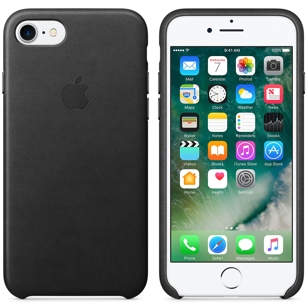 Etui téléphone Apple Coque en cuir Noir Apple iPhone 7  Coque en cuir pour Apple iPhone 7