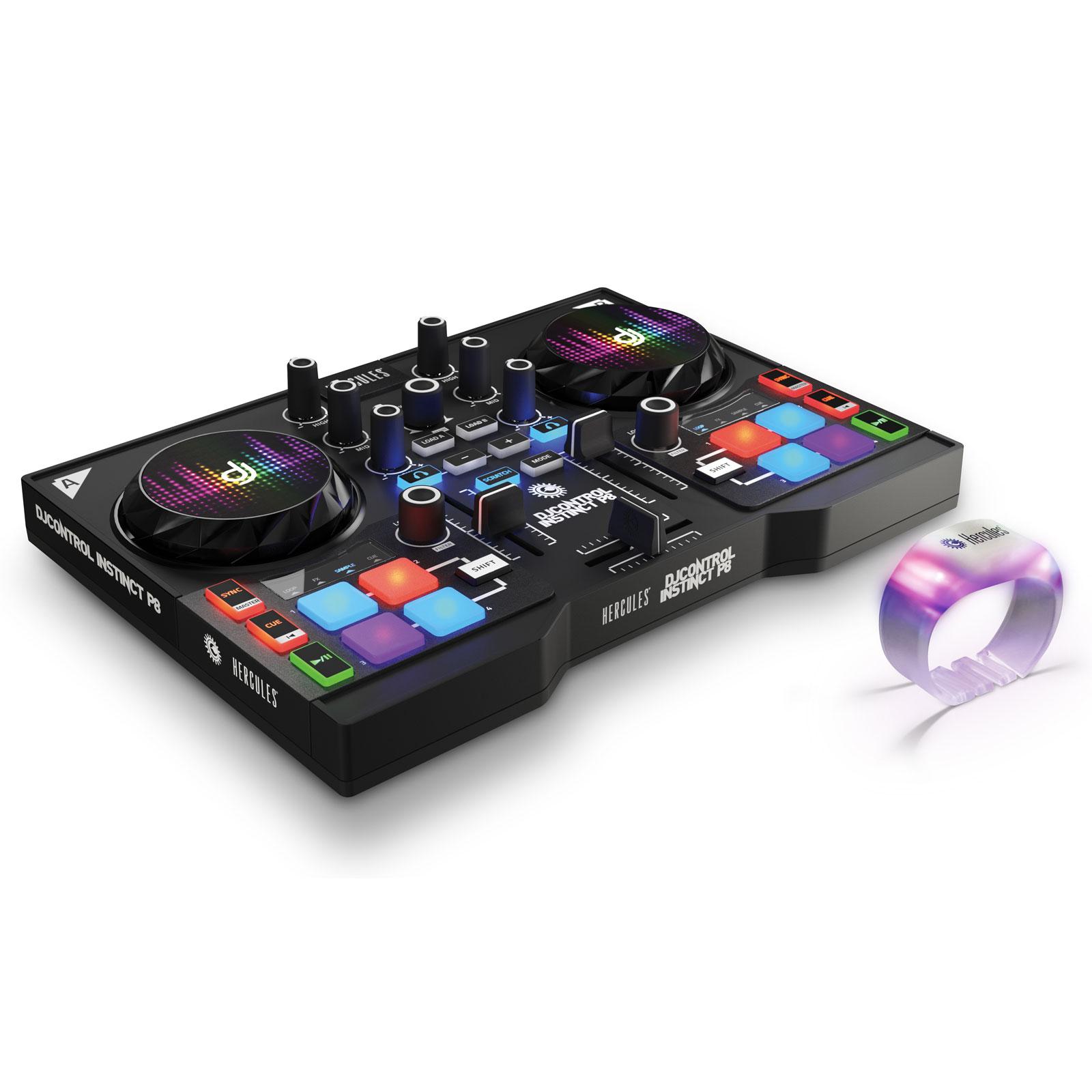 Hercules djcontrol instinct p8 party pack table de - Table de mixage avec carte son integree ...