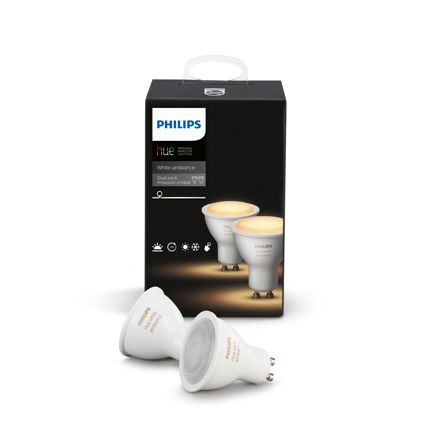 philips hue white ambiance gu10 dual pack ampoule connect e philips sur ldlc. Black Bedroom Furniture Sets. Home Design Ideas