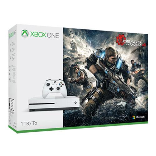 Console Xbox One Microsoft Xbox One S (1 To) + Gears of War 4 Console de jeux-vidéo 4K nouvelle génération avec disque dur 1 To + Gears of War 4