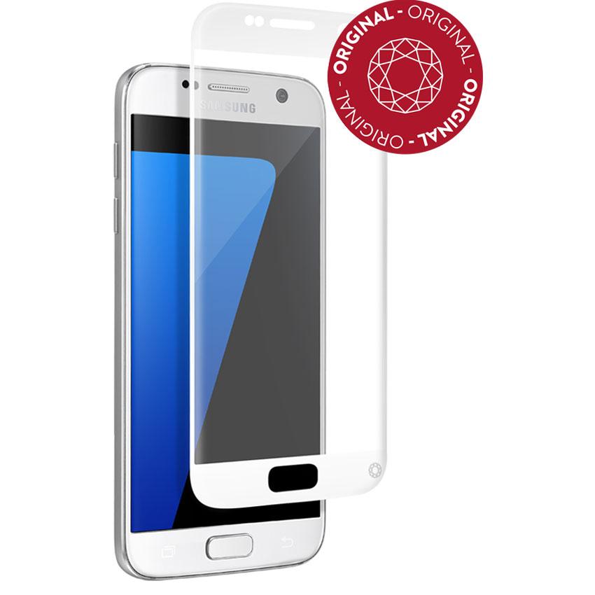 Film protecteur téléphone Force Glass Verre Trempé contour blanc Galaxy S7 Protège-écran contour blanc en verre trempé pour Samsung Galaxy S7