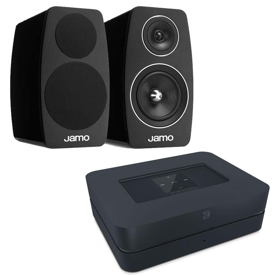 Ensemble Hifi Bluesound Powernode 2 Noir + Jamo C103 High Gloss Black Amplificateur lecteur réseau multiroom DAC avec Wi-Fi et Bluetooth compatible Hi-Res Audio 2 x 60 W + Enceinte bibliothèque (par paire)