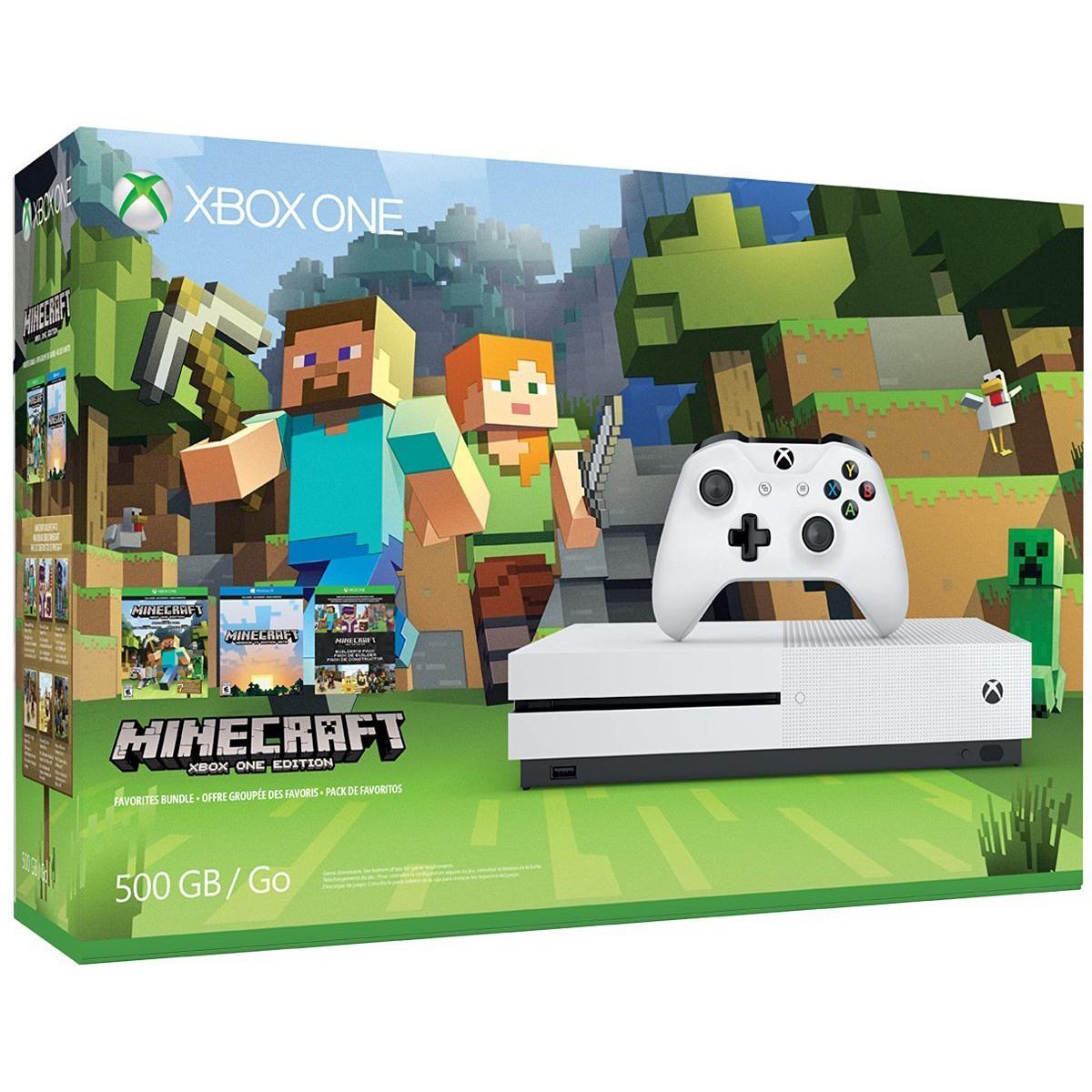 Console Xbox One Microsoft Xbox One S (500 Go) + Minecraft Console de jeux-vidéo 4K nouvelle génération avec disque dur 500 Go + Minecraft