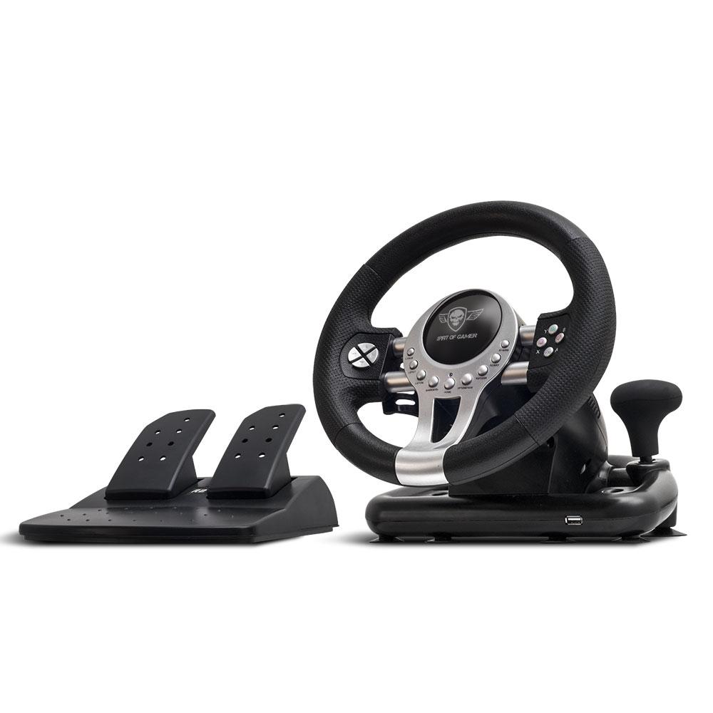 Volant PC Spirit of Gamer Race Wheel Pro 2 Ensemble volant + pédalier + levier de vitesse (compatible PC / PlayStation 3 / PlayStation 4 / Xbox One)