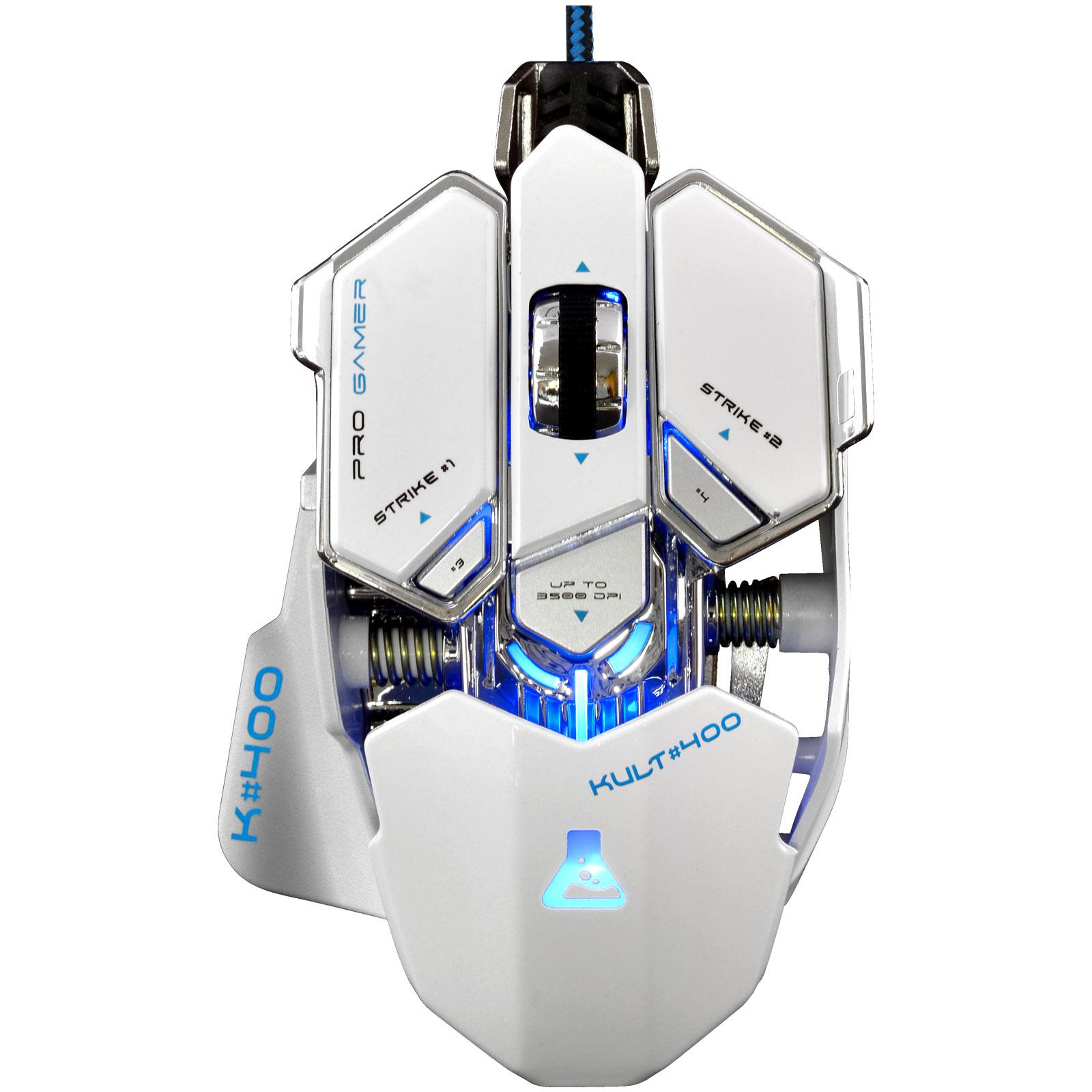 Souris PC The G-Lab KULT#400 Blanc Souris filaire pour gamer - droitier - capteur optique 3500 dpi - 10 boutons programmables - rétro-éclairage RGB