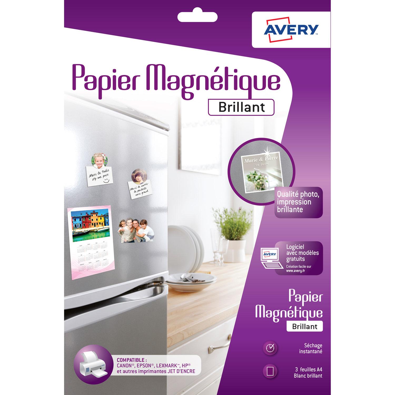 Papier imprimante Avery Papier magnétique brillant A4 (3 feuilles) Papier magnétique blanc brillant au format A4 pour imprimante jet d'encre (3 feuilles)