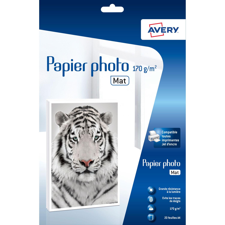 Papier imprimante Avery Papier photo mat supérieur A4 (20 feuilles) Papier photo supérieur mat pour imprimante jet d'encre - 170g/m² - A4 - 20 feuilles