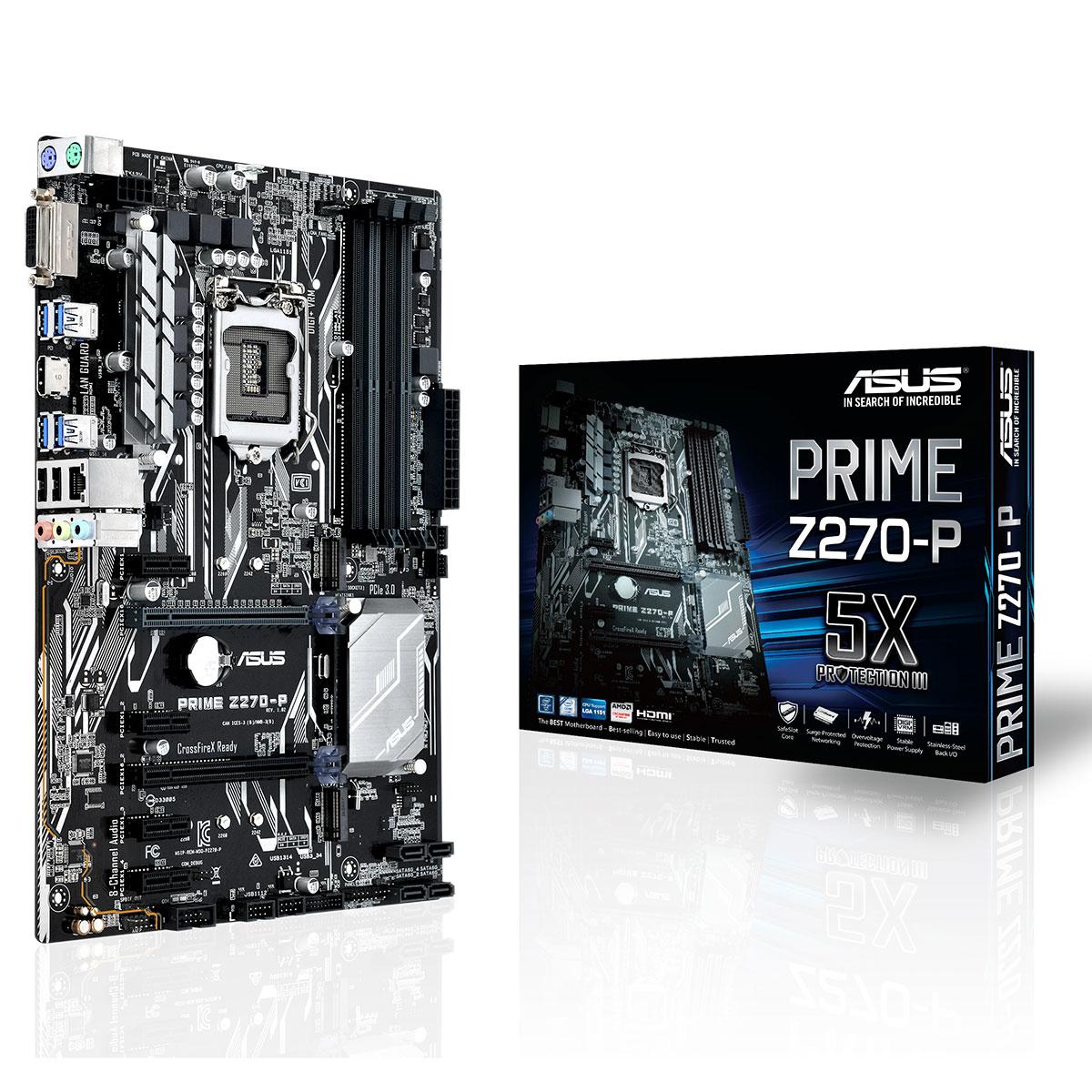 Carte mère ASUS PRIME Z270-P Carte mère ATX Socket 1151 Intel Z270 Express - 4x DDR4 - SATA 6Gb/s + M.2 - USB 3.0 - 2x PCI-Express 3.0 16x