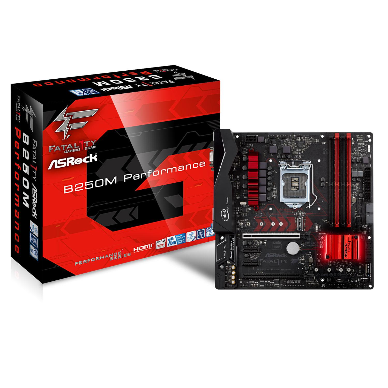 Carte mère ASRock B250M Performance Carte mère Micro ATX Socket 1151 Intel B250 Express - 4x DDR4 - SATA 6Gb/s + M.2 - USB 3.0 - 2 x PCI-Express 3.0 16x