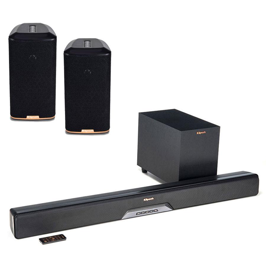 Barre de son Klipsch RSB-8 + Klipsch RW-1 (par paire) Barre de son 2.1 Bluetooth, HDMI, multiroom Wi-Fi DTS Play-Fi avec caisson de basses sans fil + Enceintes sans fil multiroom Wi-Fi DTS Play-Fi (par paire)