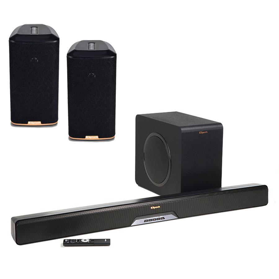 Barre de son Klipsch RSB-14 + Klipsch RW-1 (par paire) BBarre de son 2.1 Bluetooth, HDMI, multiroom Wi-Fi DTS Play-Fi avec caisson de basses sans fil + Enceintes sans fil multiroom Wi-Fi DTS Play-Fi (par paire)