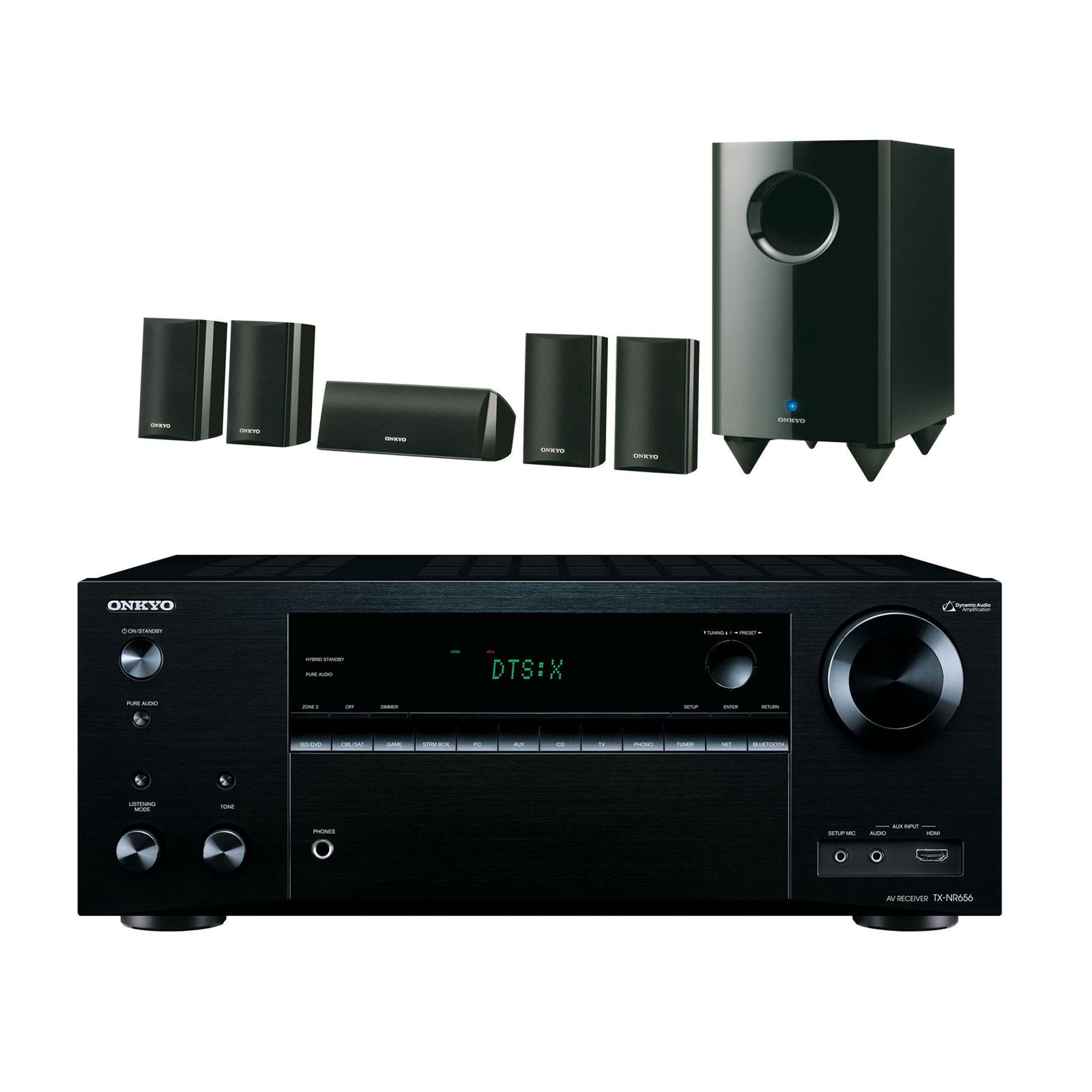 Ensemble home cinéma Onkyo TX-NR656 Noir + SKS-HT528 Ampli-tuner Home Cinéma 7.2 Wi-Fi, Bluetooth, Google Cast, AirPlay avec HDMI 4K/HDCP 2.2, DAC AKM, Dolby Atmos et DTS:X + Pack d'enceintes 5.1