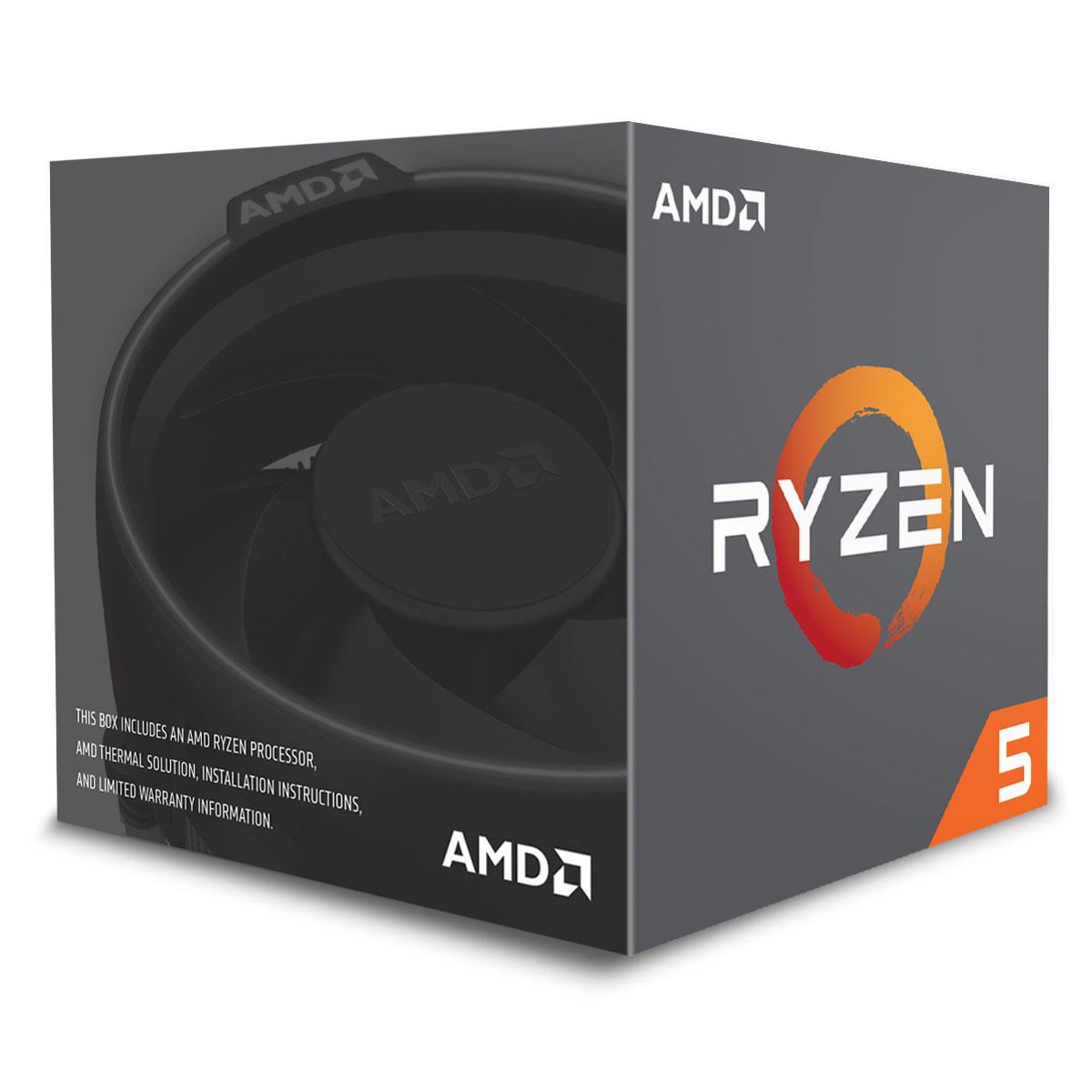 Processeur AMD Ryzen 5 1600 Wraith Spire Edition (3.2 GHz) Processeur 6-Core socket AM4 Cache L3 16 Mo 0.014 micron TDP 65W avec système de refroidissement (version boîte - garantie constructeur 3 ans)