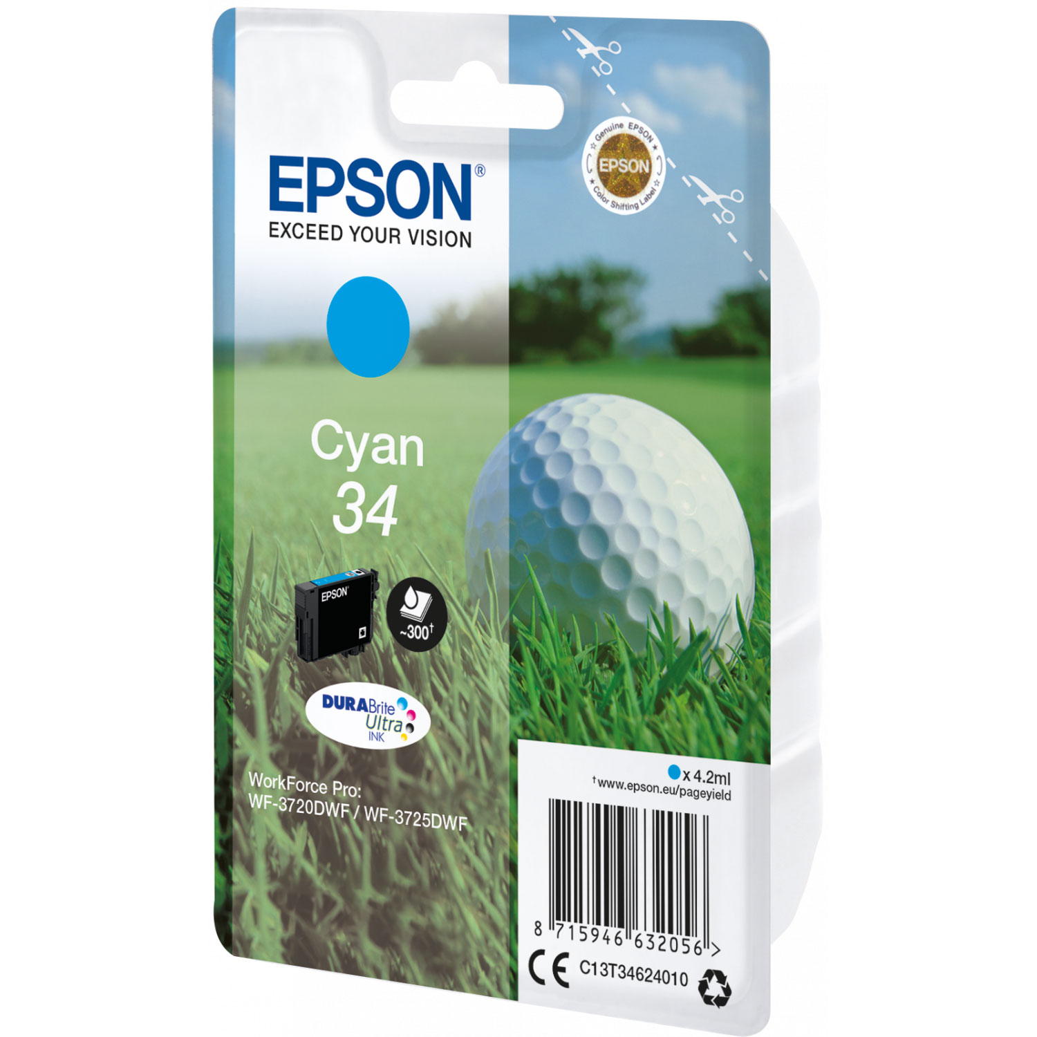 epson balle de golf cyan 34 cartouche imprimante epson. Black Bedroom Furniture Sets. Home Design Ideas